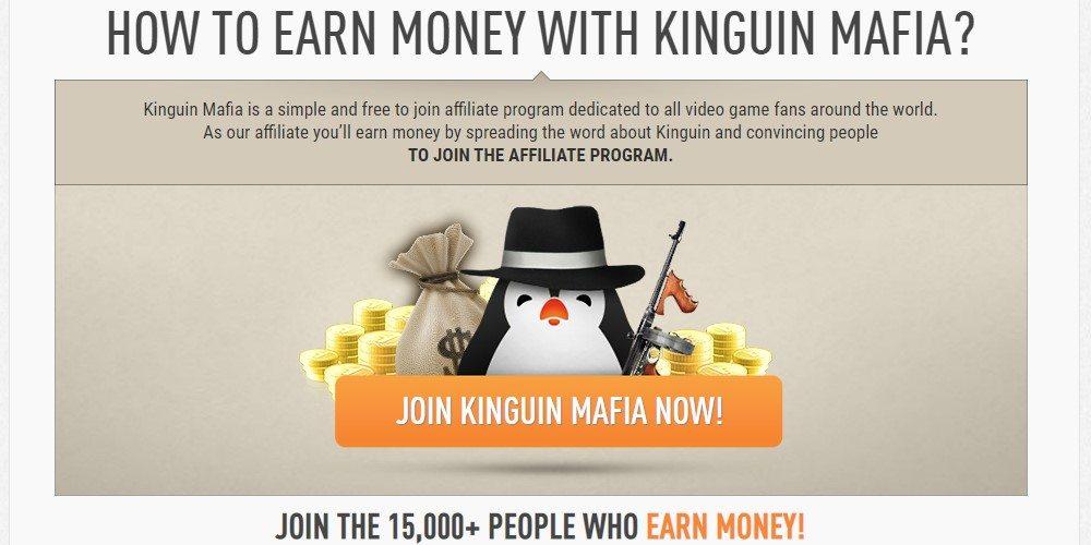 kinguin affiliate sign up page