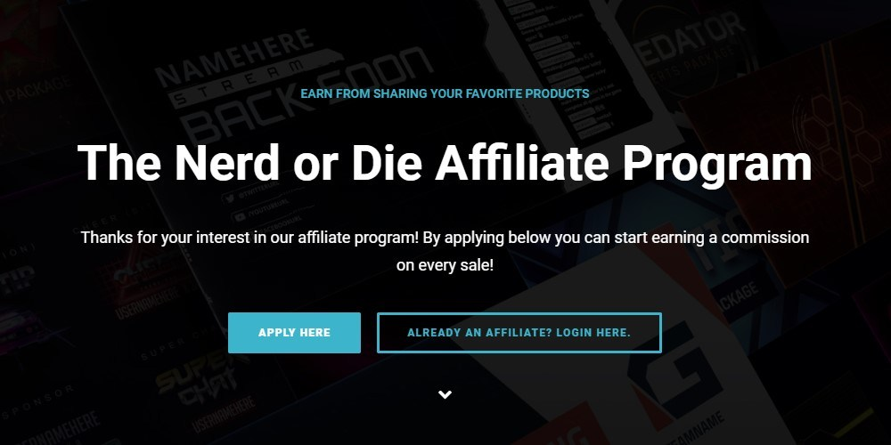 nerd or die affiliate program sign up page