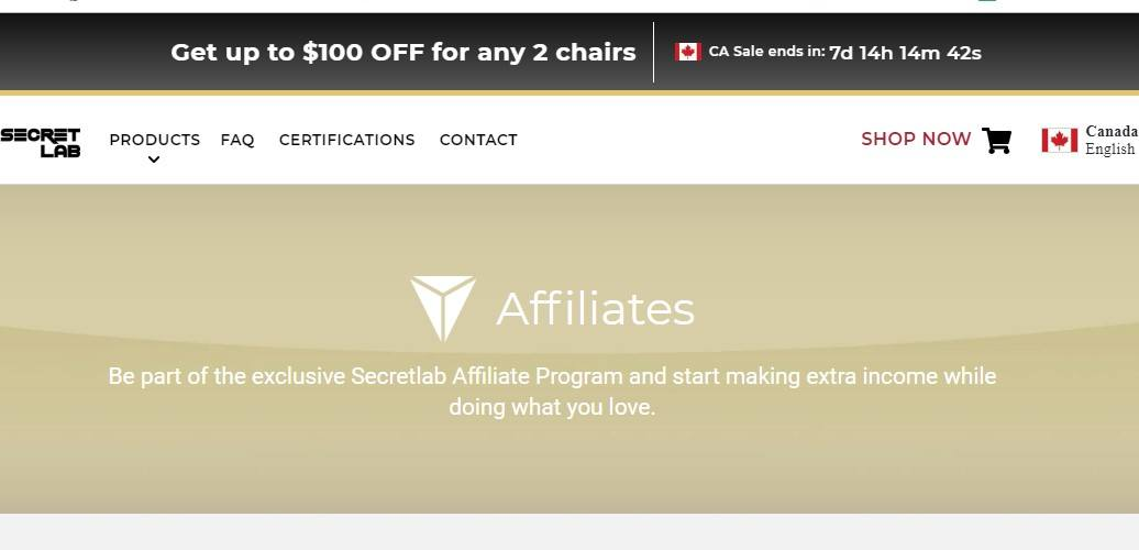 secret lab affiliate sign up page