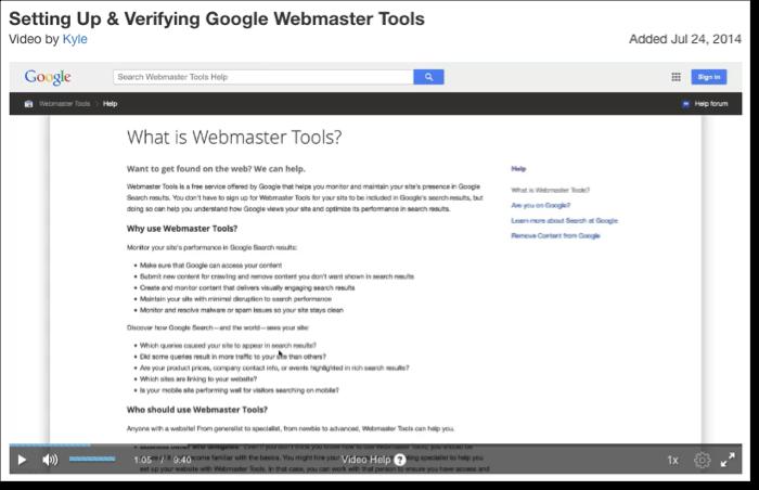 setting up webmaster tools