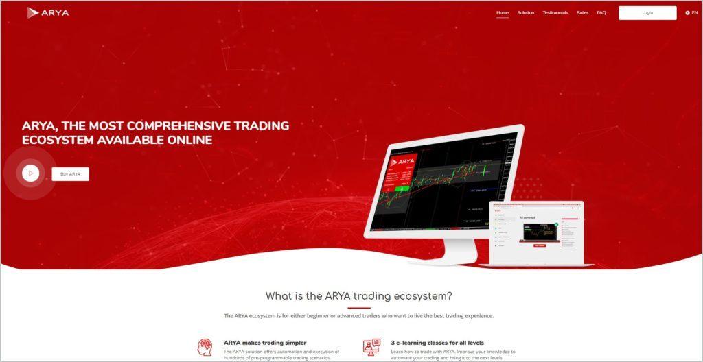 screenshot of ARYA homepage