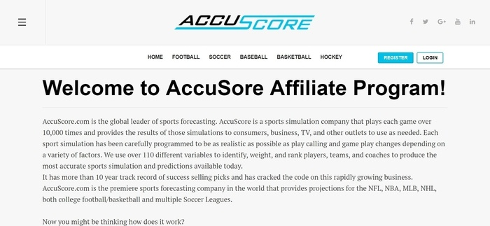 screenshot of the affiliate sign up page for AccuScore