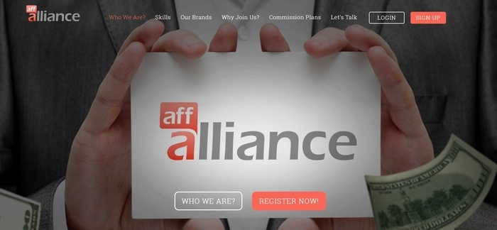 screenshot of the affiliate sign up page for AffAlliance