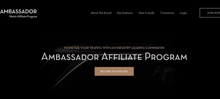 screenshot of the affiliate sign up page for Ambassador