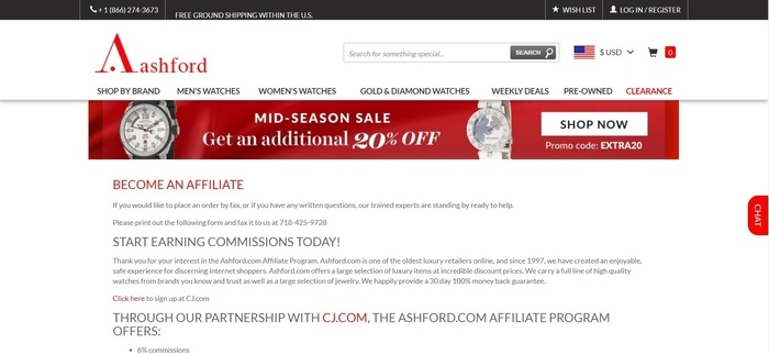 screenshot of the affiliate sign up page for Ashford