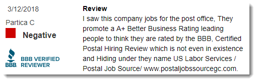 BBB Review for Postal Jobs Source