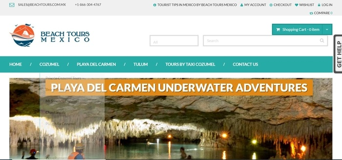 screenshot of the affiliate sign up page for Beach Tours Mexico