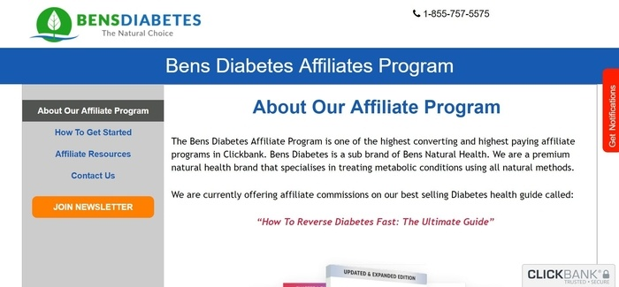 screenshot of the affiliate sign up page for Bens Diabetes
