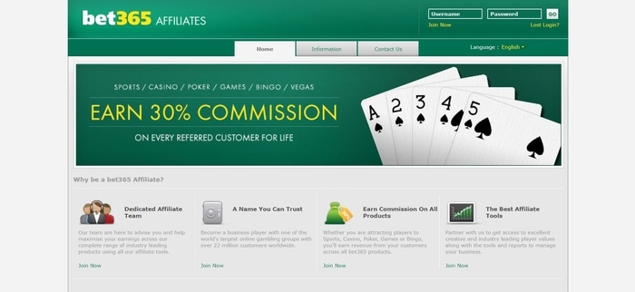 screenshot of the affiliate sign up page for Bet365