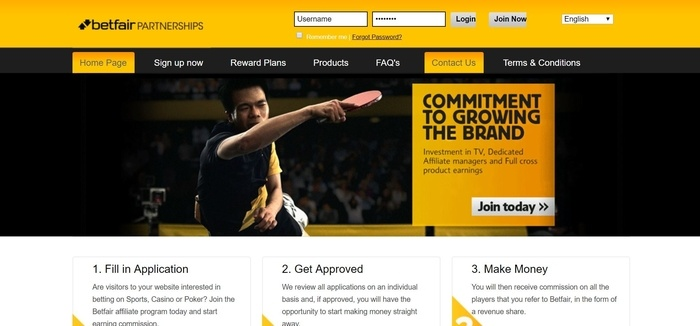 screenshot of the affiliate sign up page for Betfair
