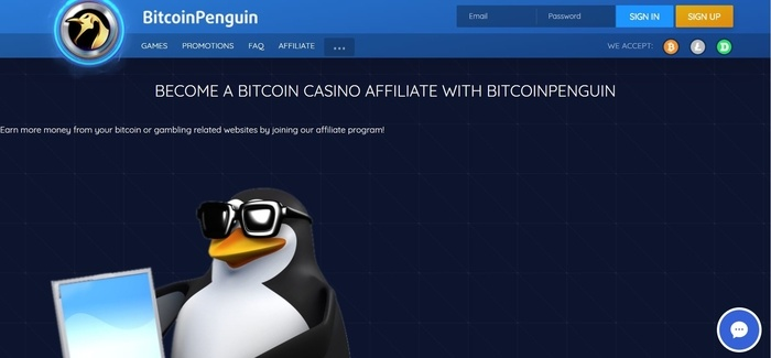 screenshot of the affiliate sign up page for BitcoinPenguin