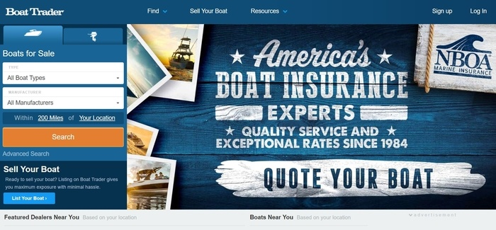 screenshot of the affiliate sign up page for Boat Trader