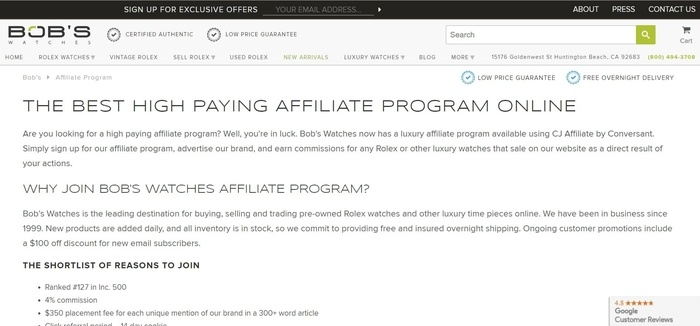 screenshot of the affiliate sign up page for Bob's Watches