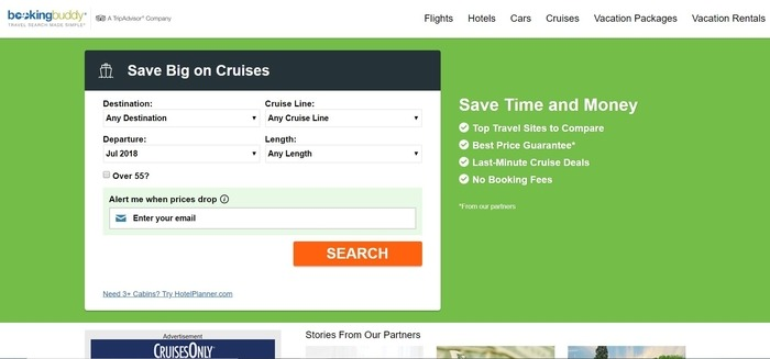 screenshot of the affiliate sign up page for BookingBuddy
