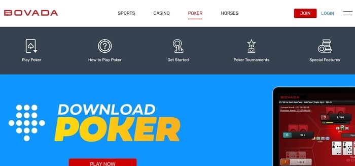 screenshot of the affiliate sign up page for Bovada.lv Poker