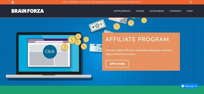 screenshot of the affiliate sign up page for Brain Forza