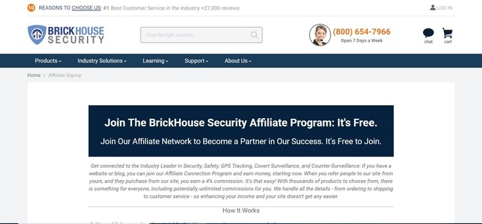 screenshot of the affiliate sign up page for BrickHouse Security