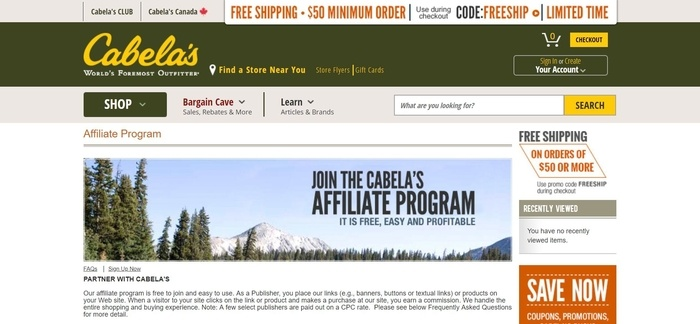 screenshot of the affiliate sign up page for Cabela's