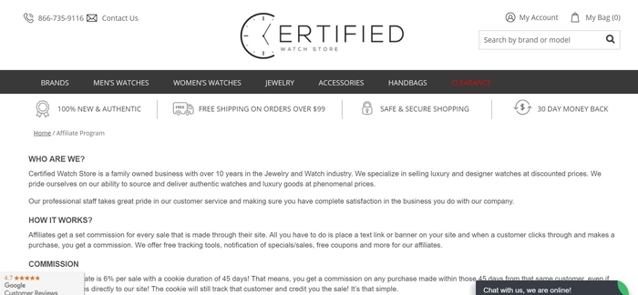 screenshot of the affiliate sign up page for Certified Watch Store
