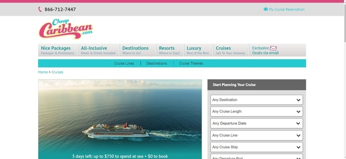 screenshot of the affiliate sign up page for CheapCaribbean