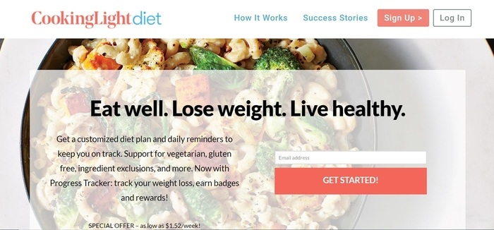 screenshot of the affiliate sign up page for Cooking Light Diet