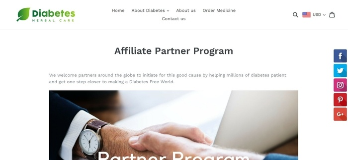 screenshot of the affiliate sign up page for Diabetes Herbal Care
