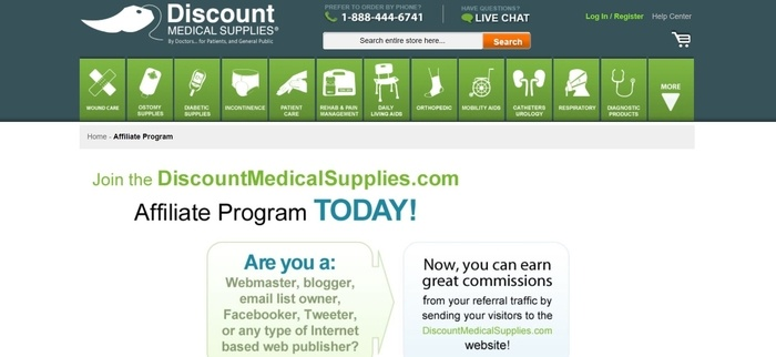 screenshot of the affiliate sign up page for Discount Medical Supplies