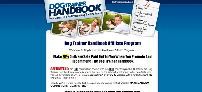 screenshot of the affiliate sign up page for Dog Trainer Handbook