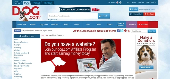 screenshot of the affiliate sign up page for Dog.com