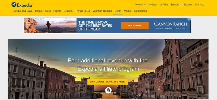screenshot of the affiliate sign up page for Expedia