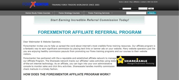 screenshot of the affiliate sign up page for Forexmentor