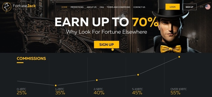 screenshot of the affiliate sign up page for FortuneJack Affiliates