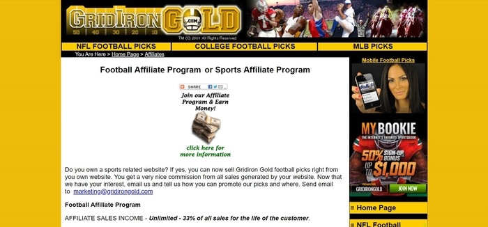 screenshot of the affiliate sign up page for Gridiron Gold