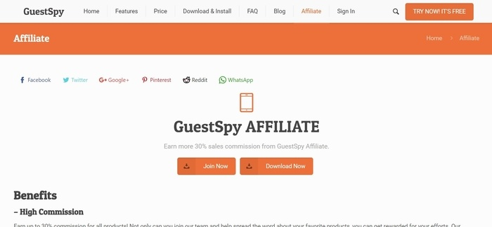 screenshot of the affiliate sign up page for GuestSpy