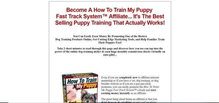 screenshot of the affiliate sign up page for How To Train My Puppy