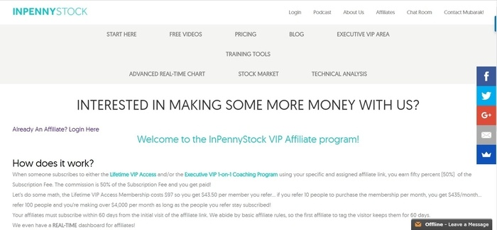 screenshot of the affiliate sign up page for InPennyStock