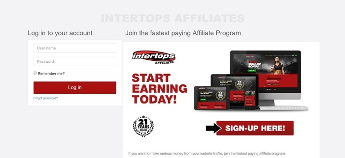 screenshot of the affiliate sign up page for Intertops