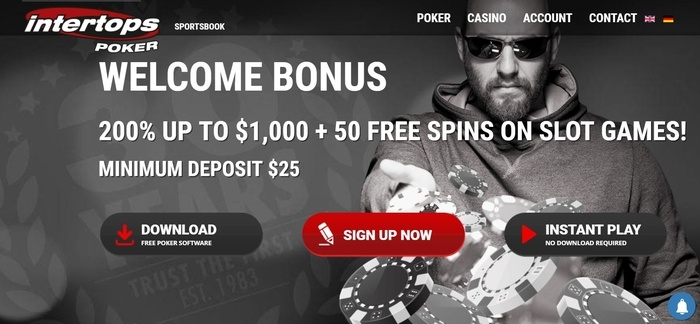 screenshot of the affiliate sign up page for Intertops Poker