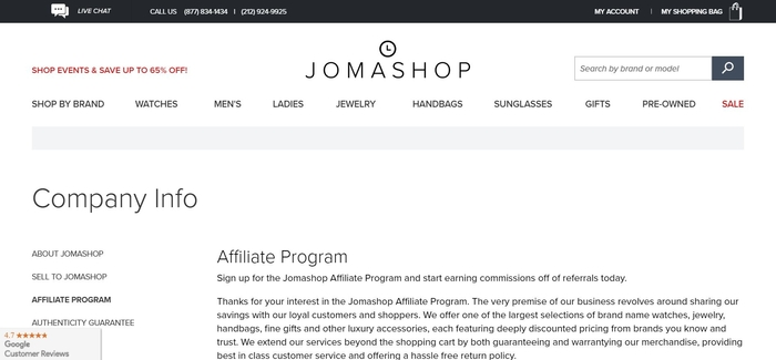screenshot of the affiliate sign up page for Jomashop