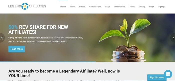 screenshot of the affiliate sign up page for LegendAffiliates