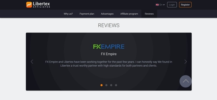screenshot of the affiliate sign up page for Libertex