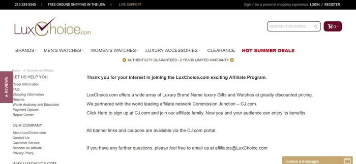 screenshot of the affiliate sign up page for LuxChoice