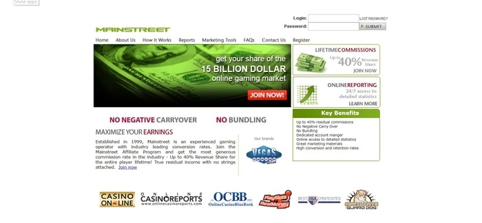 screenshot of the affiliate sign up page for Mainstreet Affiliates