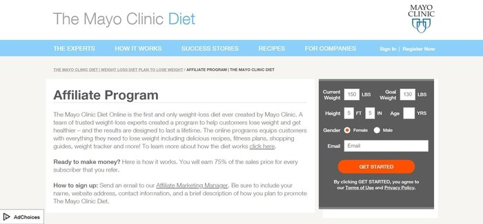screenshot of the affiliate sign up page for Mayo Clinic Diet