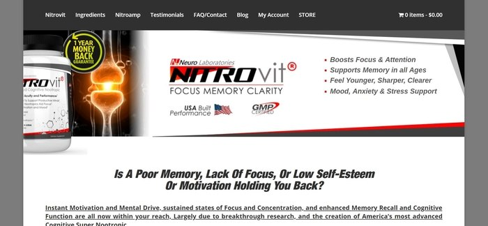 screenshot of the affiliate sign up page for NITROvit