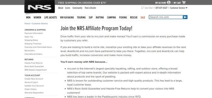 screenshot of the affiliate sign up page for NRS