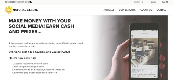 screenshot of the affiliate sign up page for Natural Stacks