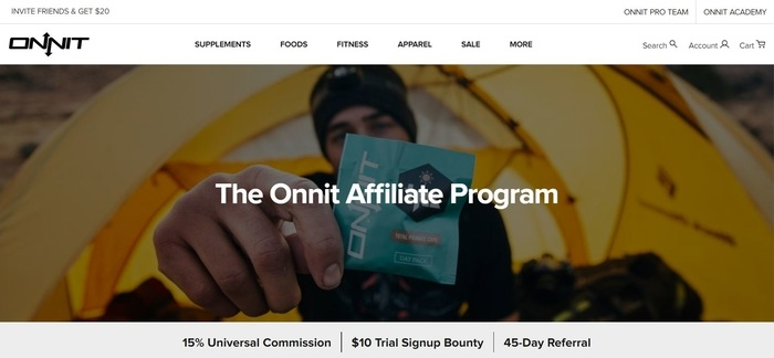 screenshot of the affiliate sign up page for Onnit