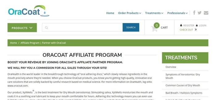 screenshot of the affiliate sign up page for Oracoat