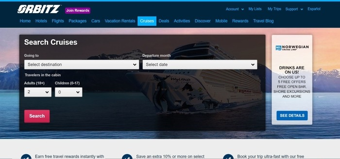 screenshot of the affiliate sign up page for Orbitz
